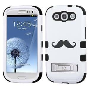 Cerhinu Dual Layer Plastic Silicone Tuff Handlebar Mustache On Black Hard Cover Snap On Case W/ Horizontal Kickstand For...
