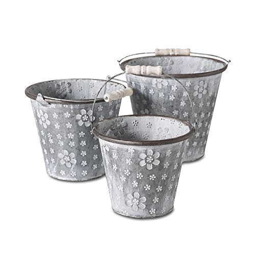 Flower Power Planters, 3 Piece Set, Bucket Jardinieres, Imprinted Pattern, Galvanized Zinc, Rubbed White Patina, Metal Handles with Wood Detail, 8 3/4, 7 3/4, and 6 3/4 Inches Diameter