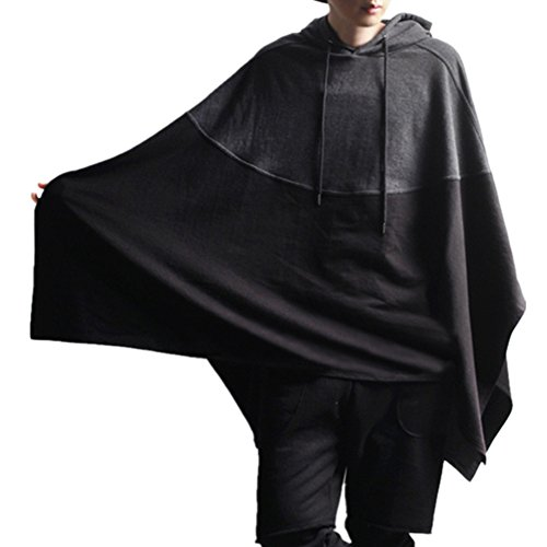 Allonly Men's Fashion Hoodie Darkness Cloak Black Windbreaker Coat