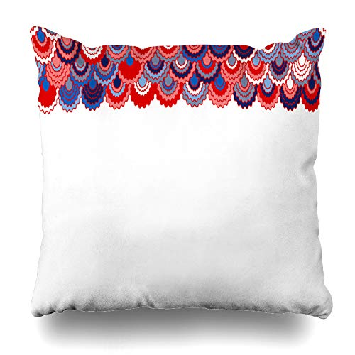 - Ahawoso Throw Pillow Cover Border Blue Colors Holiday American Ribbons Bunting Memorial Pink Arc Badge Cell Curve Design Home Decor Pillowcase Square Size 20 x 20 Inches Zippered Cushion Case