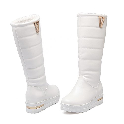 High Closed Toe PU on Round Women's Pull top Kitten Boots Allhqfashion White Heels 4Cq6zn