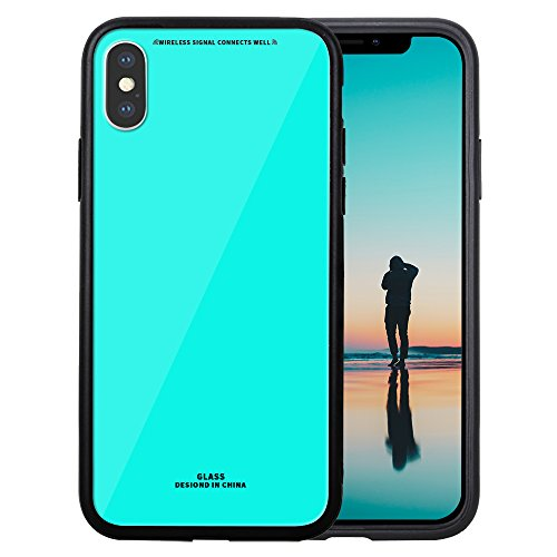 Price comparison product image GreenElec iPhone X Case 9H Hardness Glass Back Cover Anti-Scratch with Excellent Grip Compatible for Apple iPhone X (2017) - Azure