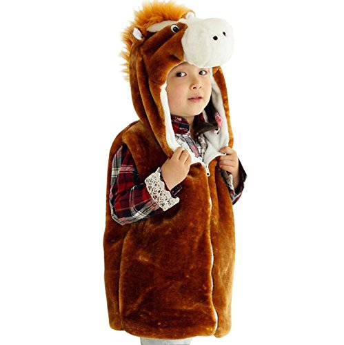 Hanstyle Cartoon Toddler/kids/child Role Play Costume Warm Hooded Animals Vest (S(3-5Y), Horse)