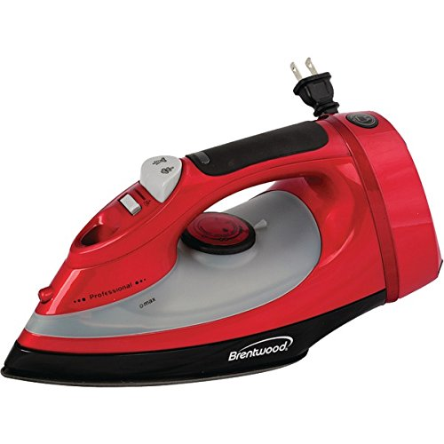 BTWMPI58 - BRENTWOOD MPI-58 Full-Size Stream, Spray amp; Dry Iron (1,400W; Red with Cord Storage)