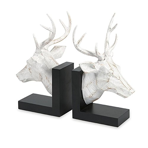 CC Home Furnishings Set of 2 Rustic Lodge Wood Carved Look White Deer Bookends Review