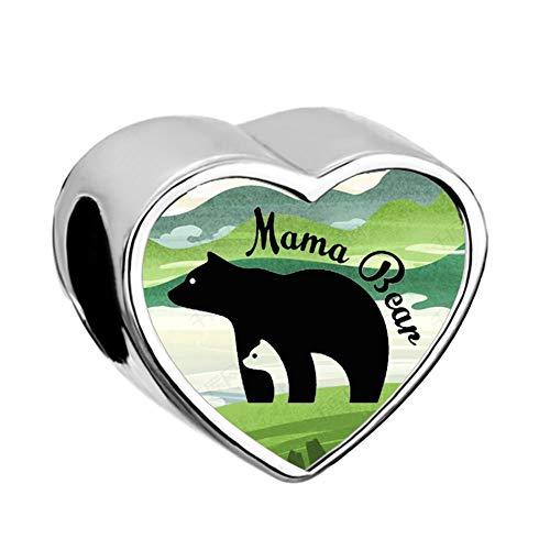 Charmed Craft Mother Mom Love Child Charms Elephant Mama Bear Beads for Snake Chain Bracelets (Mama Bear-2)
