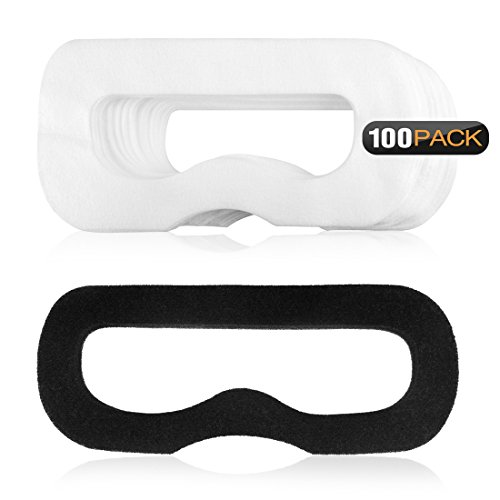 Geekria 100Pcs Disposable Face Cover Mask with 1 pcs and Magic Sticks for HTC Vive Virtual Reality/White Eye Mask for Playstation VR/Soft Breathable Non-Woven Fabrics for Headset VR