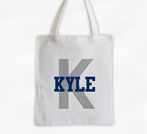 Monogram Personalized Cotton Canvas Tote Bag with Sporty Name (3006) (Canvas Sporty)