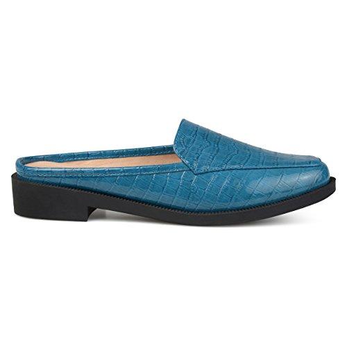 Brinley Co. Womens Jem Faux Patent Square Toe Comfort-Sole Croc Pattern Slide Mules Blue, 5.5 Regular US