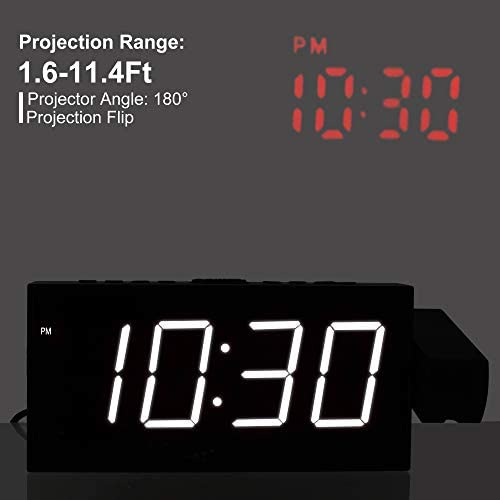 Mesqool Horloge à projection 17,8 cm 6.7 x 1.2 x 1.6 inches