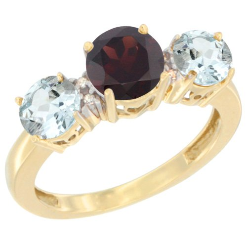 Garnet 14k Gold Ring Natural (14K Yellow Gold Round 3-Stone Natural Garnet Ring & Aquamarine Sides Diamond Accent, size 6)