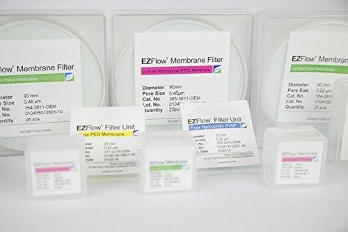 EZFlow Nylon Hydrophilic Membrane Filters, 0.45um, 90mm Diameter Filter Discs, 25/PK by Foxx Life Sciences