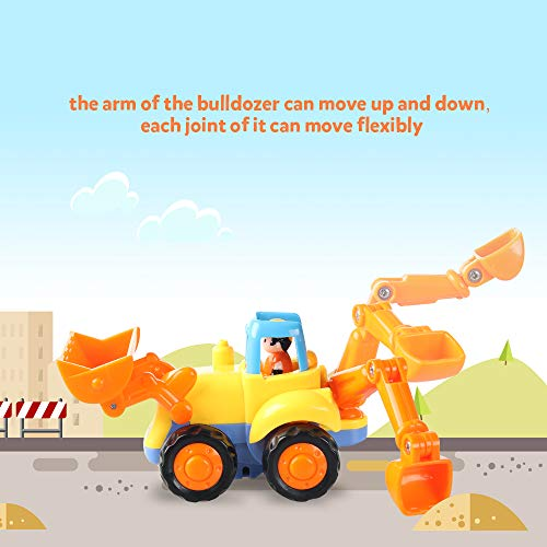 Coogam 4 Pack Friction Powered Cars Construction Vehicles Toy Set Cartoon Push and Go Car Tractor, B - http://coolthings.us