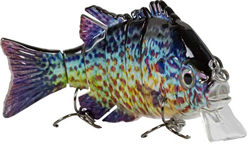 Sunrise Angler 4 Inch Bluegill Jointed Swimbait | Sinking Hard Bait Fishing Lure for Freshwater Game Fishing with Textured Lifelike Skin, Curvy 'S' Swim and 3D Prismatic Eyes ()