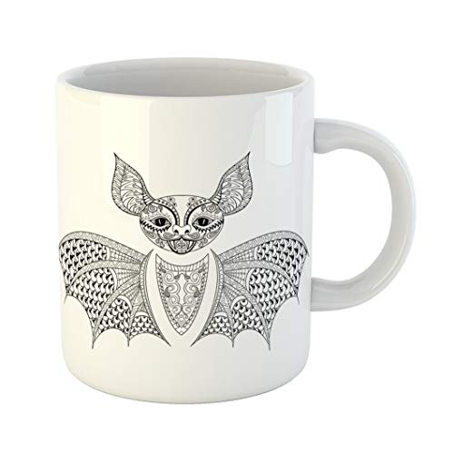 Emvency Coffee Tea Mug Gift 11 Ounces Funny Ceramic Zentangle Bat Totem for Adult Anti Stress Coloring Page Therapy Tribal Gifts For Family Friends Coworkers Boss Mug ()
