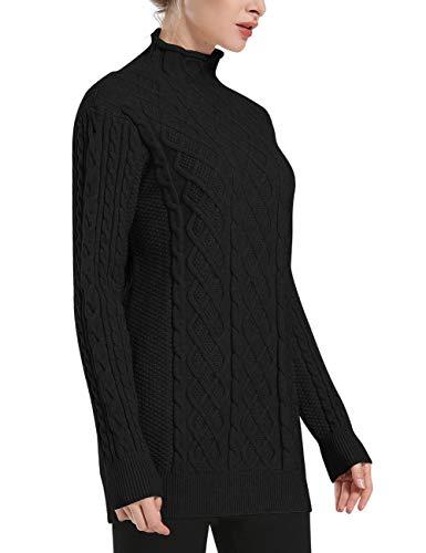 Noir Cable Col Roulé Tuniques Manche Pull Longue Chandail Long Knit Femmes Prettyguide 84qPSax