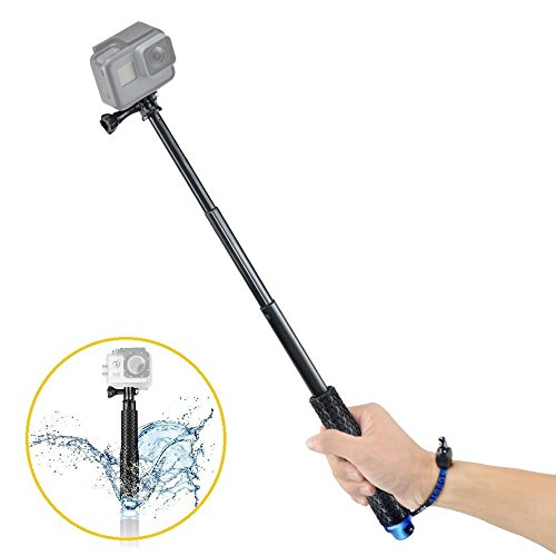 VVHOOY Waterproof Selfie Stick Extendable 7.5-19 inch Handheld Aluminum Telescopic Pole Monopod Compatible with Gopro Hero 7 6 5,AKASO EK7000,Brave 4,V50,Crosstour,DBPOWER,Campark ACT74 Action Camera