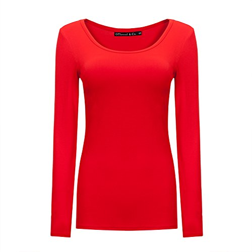 OThread & Co. Women's Long Sleeve T-Shirt Scoop Neck Basic Layer Spandex Shirts (Small, Red)