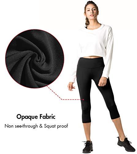 Amincissant L02 Gym De Poches Les poches Yoga Femme Capri Côtés Sport Lapasa Noir Sur Fitness Coupe Genoux Legging Avec pantacourt Jogging f6xWwZ4v