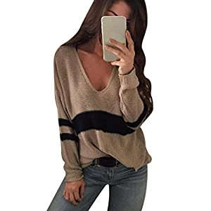 Women Tops, Gillberry Women's Plus Size Stripe Long Sleeve V Neck Pullover Sweater Tops Blouse (Brown, L)