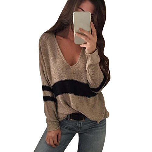 Women Tops, Gillberry Women's Plus Size Stripe Long Sleeve V Neck Pullover Sweater Tops Blouse (Brown, - Eyeglass Nyc Frames