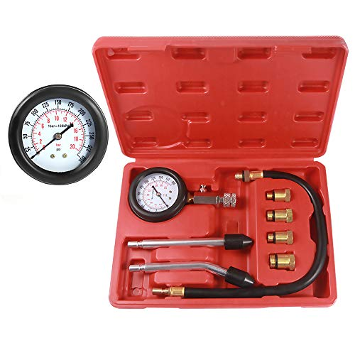 BETOOLL HW0130 8pcs Petrol Engine Cylinder Compression Tester Kit Automotive Tool Gauge ()