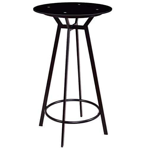 Costway Round Bar Table Modern Height Metal Pub Table with Glass Top Black ()