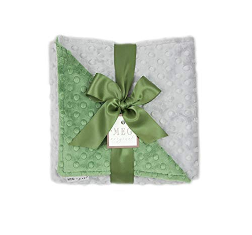 (MEG Original Gray & Dark Sage Green Minky Dot Baby Blanket 9971)