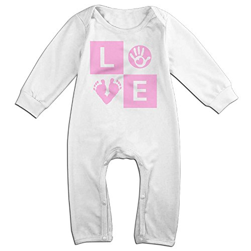 Price comparison product image NOXIDN SMWI Baby Infant Romper Baby Footprint Handprint - Love Pink Long Sleeve Bodysuit Outfits Clothes, White 12 Months