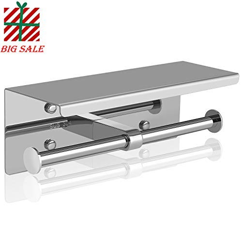 UPSTONE Toilet Paper Holder Stainless Steel Bathroom Tissue Stand with Top Shelf (Chrome Twin) ()