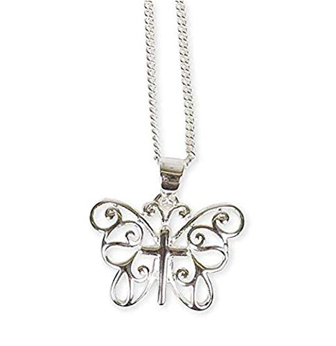 Dicksons New Creations Butterfly Silver Plated 18 inch Chain Pendant - Butterfly Plated Silver