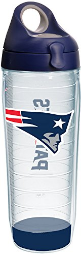 Bottle Water Nfl - Tervis 1231135 NFL New England Patriots Stripe Tumbler with Wrap and Navy with Gray Lid 24oz Water Bottle, Clear