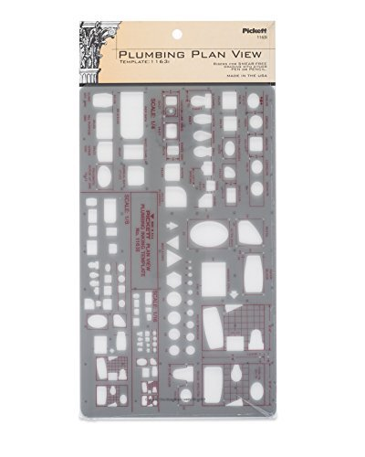 Template Plumbing Fixtures - Pickett Plumbing Plan View Template, Three Scales: 1/16, 1/8 and 1/4 Inch (1163I)
