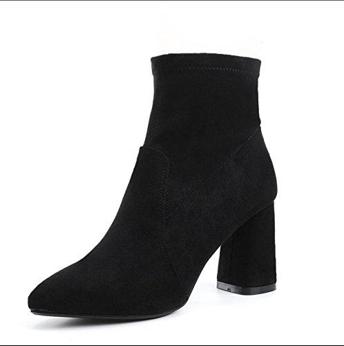 KHSKX-Black 7.8Cm Thick With Barrel Boots Winter New Tip Satin Side Zipper High-Heeled Comfortable Ladies Boot 37 gpP2l