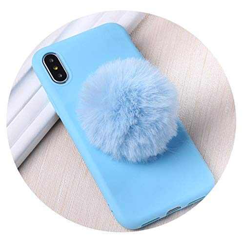- Fluffy Fur Heart Pom Pom Winter Warm Soft Candy Matte Phone Cases for iPhone 6 6S 5 5S SE 8 8Plus X XR XS Max 7 7Plus,Blue Case,for iPhone 7Plus
