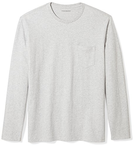 Hem Long Sleeve Cotton - Amazon Essentials Men's Regular-Fit Long-Sleeve Pocket T-Shirt, Light Grey Heather, Medium