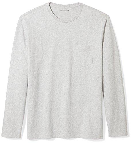 Amazon Essentials Men's Regular-Fit Long-Sleeve Pocket T-Shirt, Light Grey Heather, Large (T-shirt Pocket Sleeve Long)