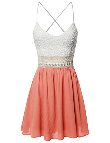 Sleeveless Spaghetti Strap Lace Detail Baby Doll Dress - Made in USA Coral L