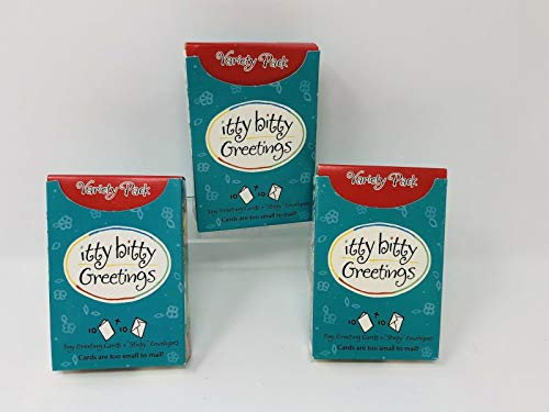 Itty Bitty Box - Hallmark Itty Bitty Greetings Variety Pack - 1 Box of 10 Tiny Cards and Envelopes