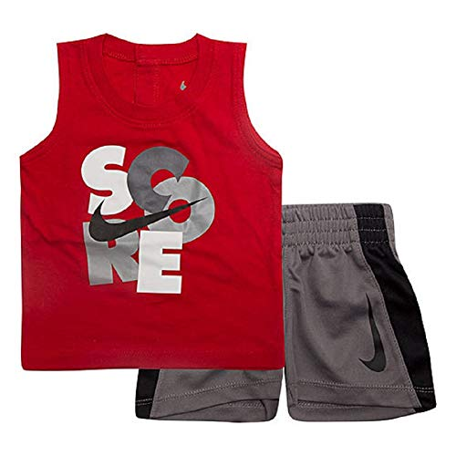 (NIKE Baby Boys 2-Piece Score T-Shirt and Short Set - Red/Grey (12 Months))