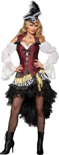 High Seas Pirate Costumes (InCharacter CostumesWomen's  High Seas Treasure Pirate Costume, Black/Red/White, X-Large)