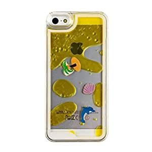 """iPhone 6 Plus Case,iPhone 6 5.5"""" Case,Coconut Trees 3D Shiny Dynamic Liquid Glitter Quicksand Transparent Plastic Bling Snap-on Case For iPhone 6 Plus 5.5 Inch-Yellow"""