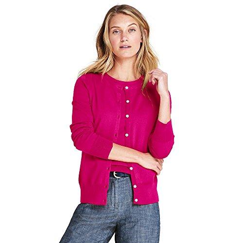 Lands' End Women's Petite Supima Cotton Cardigan Sweater, XS, Fuchsia (Fine Cotton Long Sleeve Cardigan Sweater)