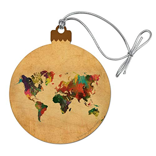 GRAPHICS amp MORE Colorful Rainbow Map of The World Earth Globe Wood Christmas Tree Holiday Ornament