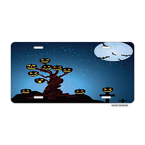 HGOD DESIGNS Halloween License Plate,Pumpkin Grows On The Tree and The Moon License Plate Decorative Front Plate Car Tag 6