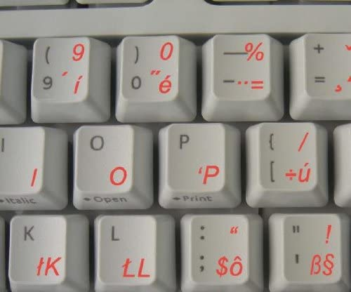SLOVAK KEYBOARD STICKER WITH RED LETTERING TRANSPARENT BACKGROUND