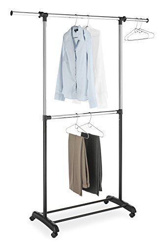 Whitmor Adjustable 2-Rod Garment Rack - Rolling Clothes Organizer - Black and (Rolling Closet)