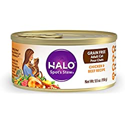 Halo Grain Free Natural Wet Cat Food, Chicken & Beef Recipe, 5.5-Ounce Can (Pack Of 12)