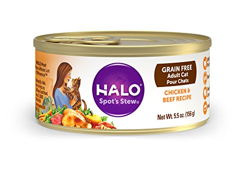 Halo Spot's Stew Holistic Wet Cat Food, Chicken and Beef, 5.5 OZ  of Canned Cat Food and Kitten Food, 12 Cans