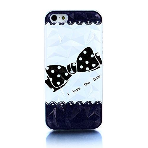 """JewelryWe """"I love the bow"""" Polka Punkt Bowknot Bogenknoten Handy Case Schutzhülle Tasche Hülle Rückenschutzhülle Etui für Apple iPhone 5/5S, Schwarz Weiss"""